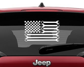 American Wrench Flag Vinyl Decal | Patriotic Mechanic Flag Tumbler Decal | Patriotic Mechanic Flag Laptop Decal