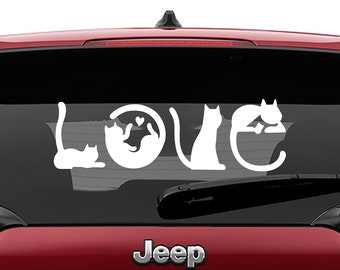 Love Cats, Cat Decal, Cat Sticker, Cat Stickers, Cat Lover Gift, Cats, Laptop Stickers, Laptop Decal, Macbook Decal, Car Decal, Vinyl Decal