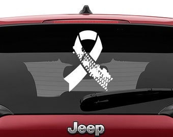 Jeep Mud Tire Track Ribbon Decal | 4x4 Awareness Ribbon Tumbler Decals | Off Road Mud Tire Track Ribbon Laptop Vinyl Decal
