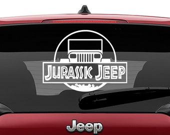 Jurassic Jeep Vinyl Decal   Jurassic Jeep Tumbler Decal   Jurassic Jeep Laptop Decal