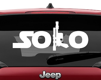 Star Wars Inspired Solo Logo With Blaster Vinyl Decal | Han Solo Blaster Tumbler Decals | Han Solo Blaster  Laptop Vinyl Decal