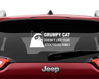 Grumpy Cat Doesn't Like Your Stick Figure Family Vinyl Decal