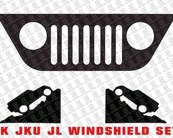 Jeep Wrangler TJ YJ CJ Windshield Corner Decal Set