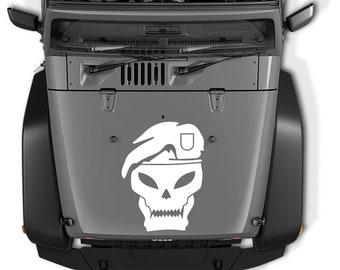 Jeep Wrangler Call Of Duty Black Ops Skull Hood Vinyl Decal | Jeep Wrangler Call Of Duty Black Ops Skull Vinyl Decal