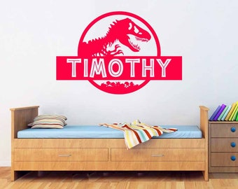 Personalized Jurassic Park Wall Decal Dinosaur T-Rex Custom Name Vinyl Decal Home Nursery Boy Kids Wall Art Interior Decor Mural