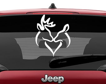 Buck Doe Kissing Heart Laptop Decal | Buck Doe Kissing Heart Car Decal | Buck Doe Kissing Heart Tumbler Decal
