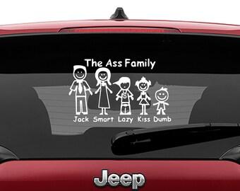 Ass Family Stick Figure Car Window Vinyl Decal