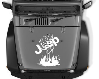 Jeep Wrangler Zombie Hand Holding Jeep Die Cut Vinyl Decal | Zombie Jeep Hand Hood Decal