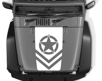 Jeep Wrangler Blackout Hood Decal Sticker - US Army Oscar Mike Star Sergeant Chevron Design