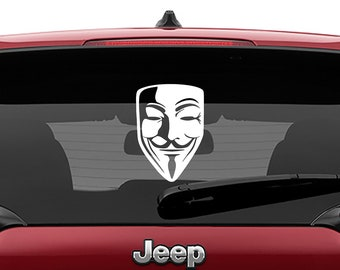 Guy Fawkes Mask Decal Sticker | V For Vendetta Mask Laptop Decal | Anonymous Mask Wall Vinyl