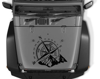 Jeep Wrangler Mountain Compass Die Cut Vinyl Decal | Nautical Mountain Compass Hood Decal