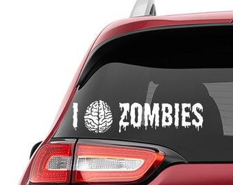I Love Zombies Decal | I Brain Zombie Tumbler Decal | I Brain Zombie Laptop Decal