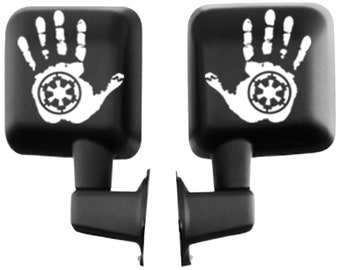 Jeep Wave Hand with Star Wars Imperial Signet Vinyl Decal Sticker for Jeep Wrangler Rubicon Renegade Mirror Window Accessory