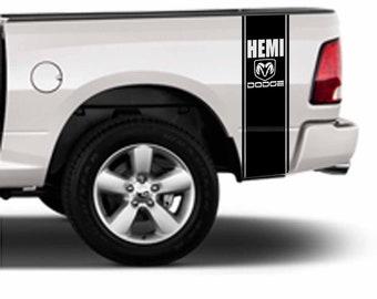 Dodge Ram Hemi Pick Up Bed Pinstripe Pair Vinyl Decal