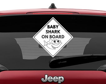 Baby Shark On Board Car Window Vinyl Decal