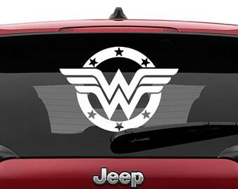 Round Wonder Woman Logo Vinyl Decal | Round Wonder Woman Tumbler Decals | Wonder Woman Logo Decal