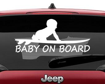 Baby On Surfboard Car Window Vinyl Decal