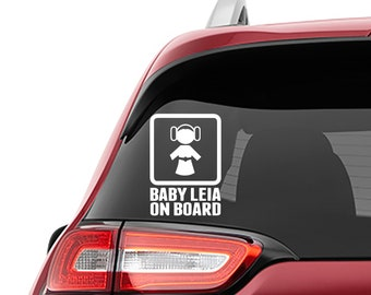 Star Wars Inspired Baby Leia On Board Car Window Vinyl Decal