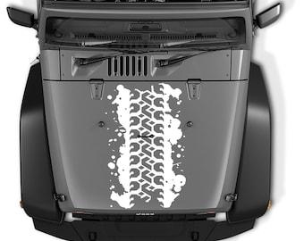 Jeep Wrangler Tire Track Mud Splatter Die Cut Vinyl Decal | Tire Track Mud Splatter Hood Decal