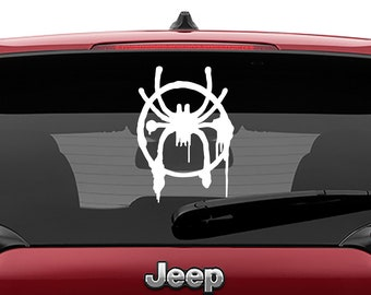 Miles Morales Spider Spray Paint Vinyl Decal | Into The Spiderverse Tumbler Decals | Spiderman Movie Logo Decal