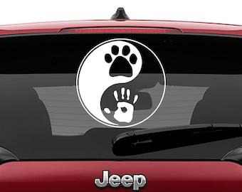 Pet And Human Yin Yang Vinyl Decal | Animal Lover Ying Yang Tumbler Decal | Dog Paw Yin Yang human Hand print Laptop Decal