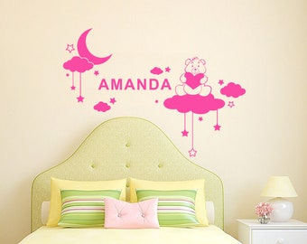 Teddy Bear Moon Stars Vinyl Decal Personalized Custom Name Boys Wall Decals Girl Nursery Baby Decor