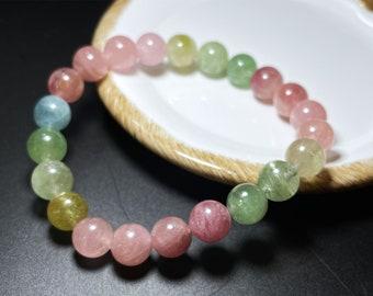 Candy color tourmaline bracelet, 7.8mm /& 8.8mm Multi Tourmaline Genuine Tourmaline Bracelet Natural Multicolor Tourmaline Bracelet