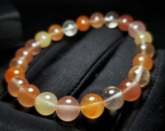 Natural Red Rabbit Hair Quartz in Sterling Silver Fram Geometric and Linear Choker Orange Gfit for Her