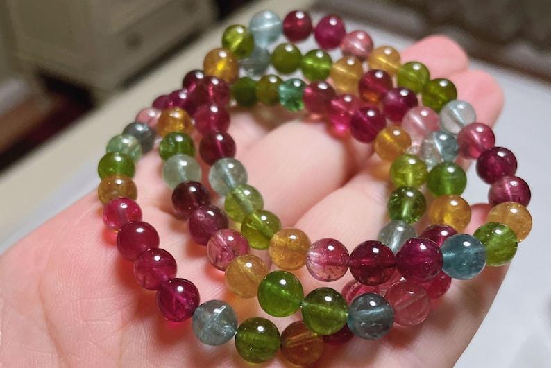 Natural Rainbow High Clarity Tourmaline Bracelet 6.5-6.8mm \u5929\u7136\u7cbe\u54c1\u7cd6\u679c\u78a7\u73ba\u624b\u4e32 Multi Colour Candy Tourmaline Bracelet