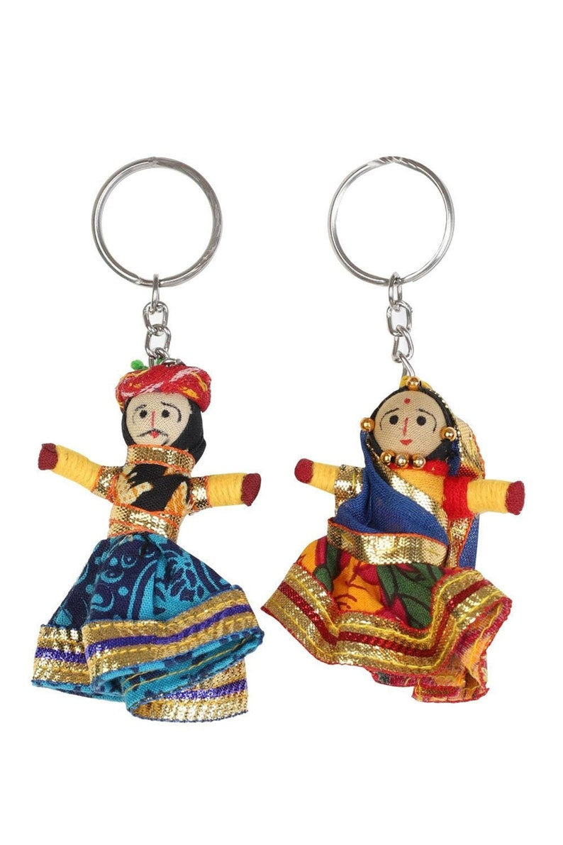 Set of 3 Pairs Indian Puppet Keychains