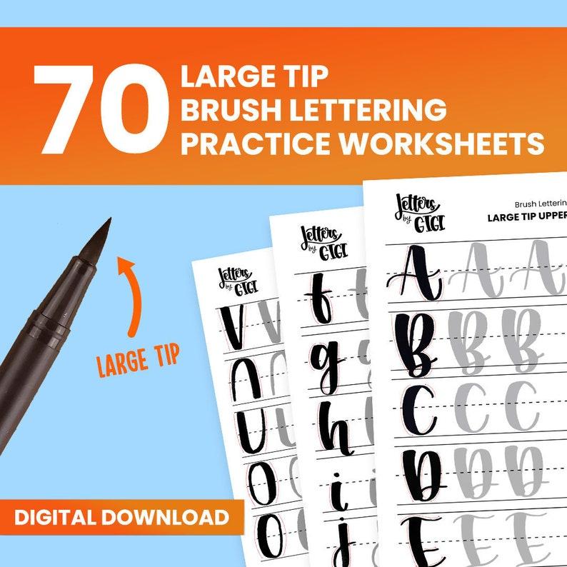 Brush Lettering Practice Worksheets  Basic Strokes Uppercase image 0