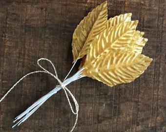Acrylic Leaf Gold//Silver Craft Embellishment Leaves  x 10