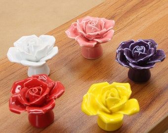 White Flower Drawer Knobs  Rose Dresser Knobs Pulls Handles  Unique Cabinet Knobs Pull Handle Ceramic Decorative Knobs Furniture Hardware