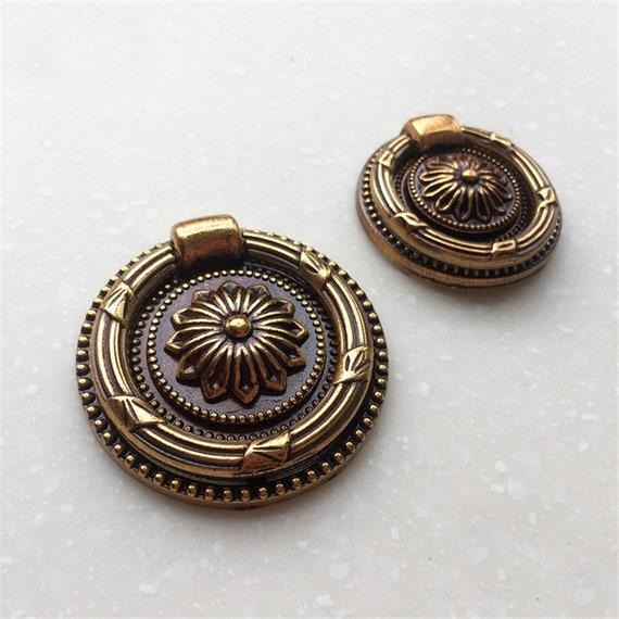 Antique Brass Round Drop Pull Ring Dresser Knobs Pulls Drawer Etsy