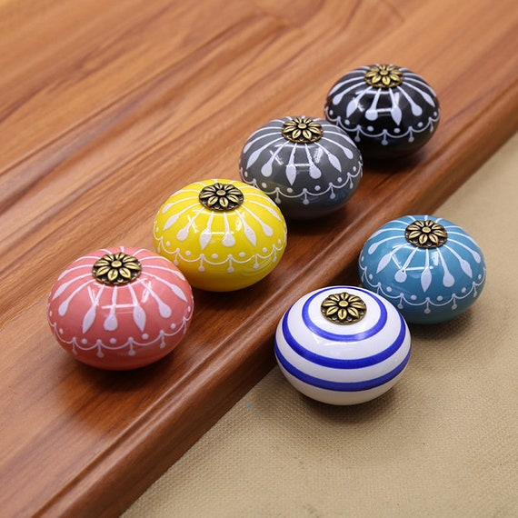Hand Painted Flower Round Ceramic, Hand Painted Porcelain Cabinet Knobs