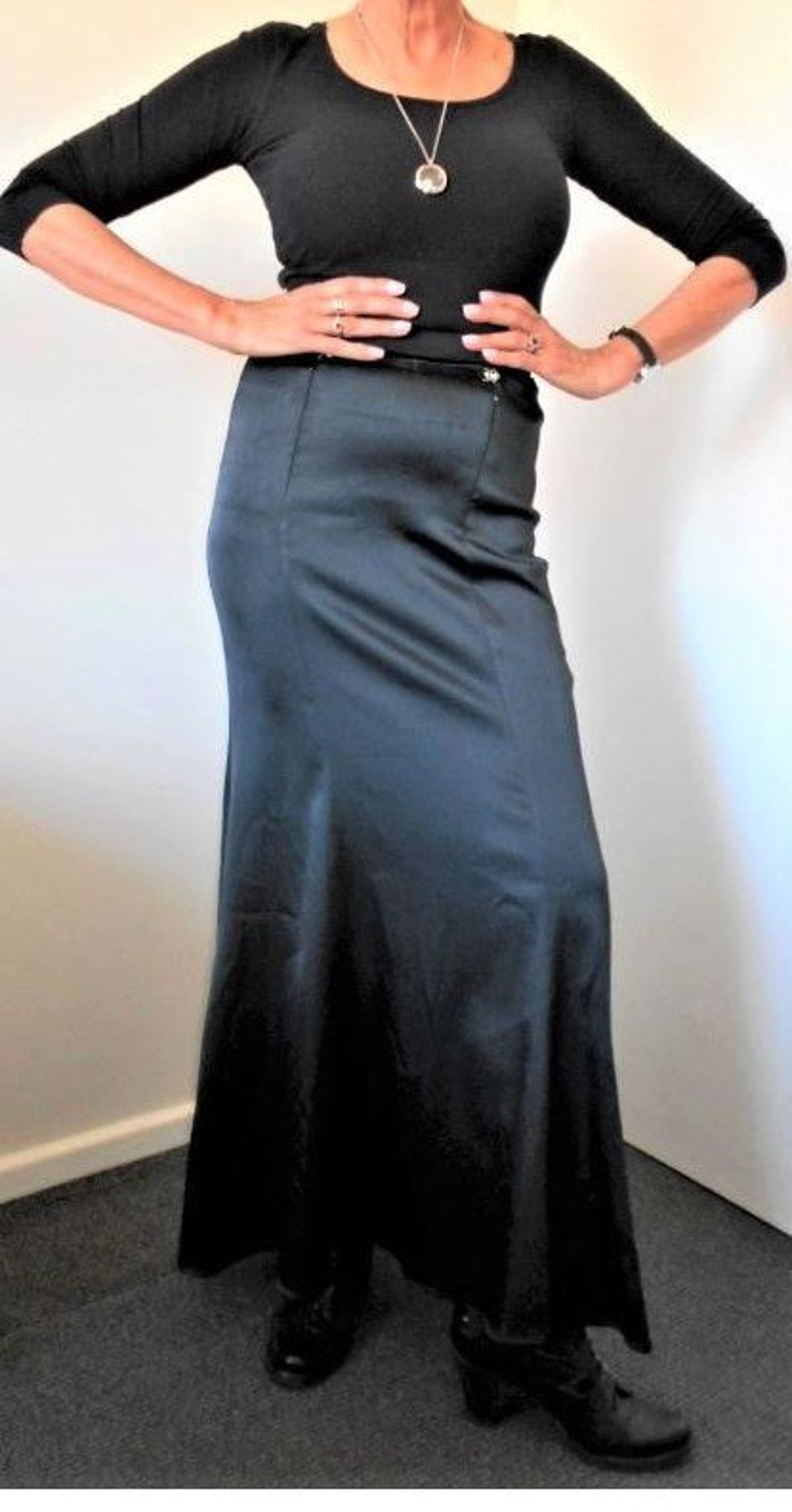 JET BLACK SATIN Full Length Fishtail Mermaid Skirt~Jacques Tchong Sydney Australia~GothicFormalMorticiaFetishMistress~