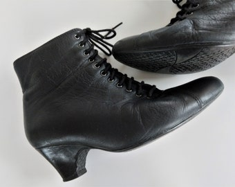 """LACE-UP BOOTS ~ Black Quality Leather Low Heel Ankle Booties ~ Gothic Victorian Steampunk Granny Boots by """"Ziera"""" Black Leather Boots"""