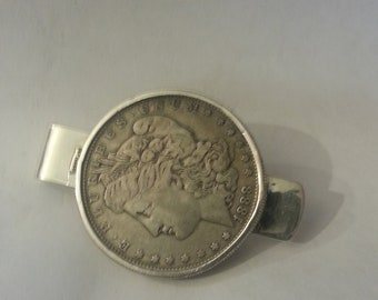 905c0f8f4a80 silver dollar money clip sterling silver screwtop bezel. 1889P dollar E41515