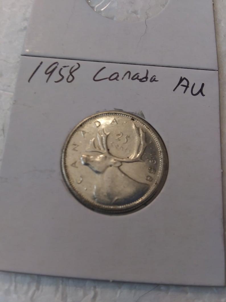 1958 AU Canada 80/% Silver Quarter 25 cents E940