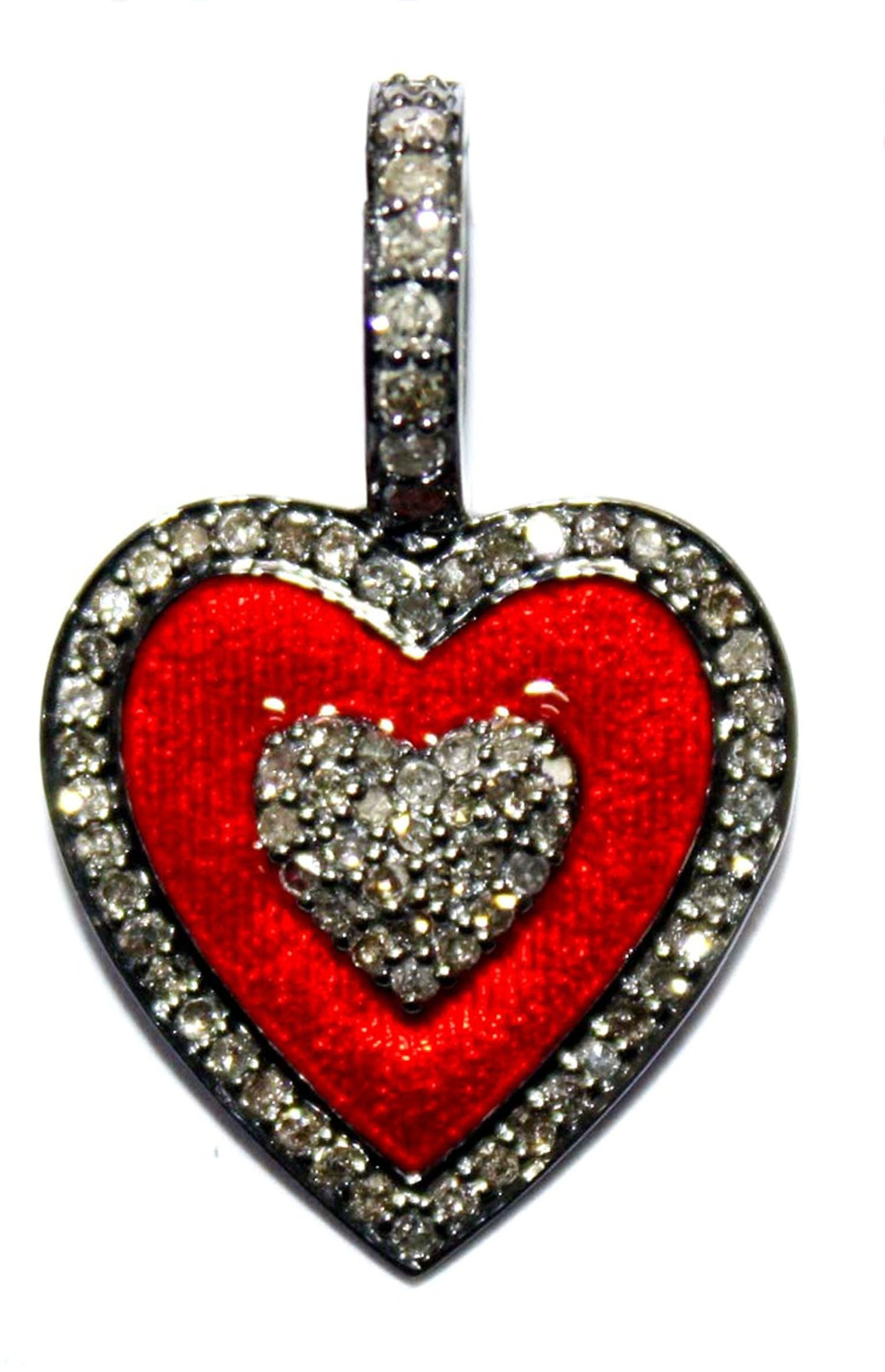 Black Enamel Color Combination Different Pendant Sterling Silver 925 Champagne Rose cut Diamond with Yellow /& Red