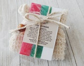 Peppermint Essential Oil Soap and Soap Sack Set Christmas gift Compostable Stocking Stuffer Holiday Gift Idea