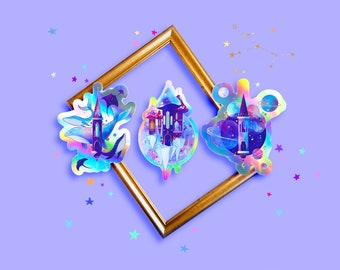THE CASTLES - Holographic Stickers - Set of 3