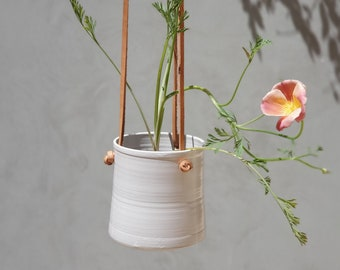Handmade White Ceramic Hanging Planter, With Brown Leather Straps, Minimalist Pottery, Ceramic Planter, Flower Plant Pot, Indoor Garden