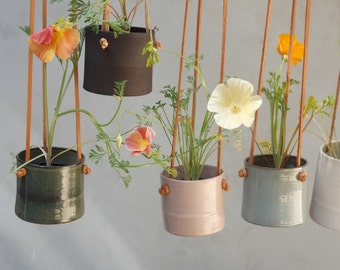Hanging Planter With Leather Straps | Minimalist Pottery Hanging Pot | 7 Color Options