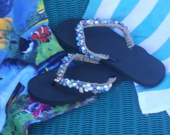d10de3b69 Beach Sea blue Flip Flops with Seashells