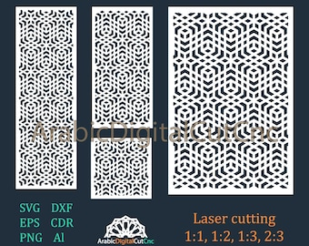 DXF,CDR,SVG,Eps,Png, Al (21 files). Arabic geometric laser cutting templates, digital pattern set. Cnc files,decorative screen,panels