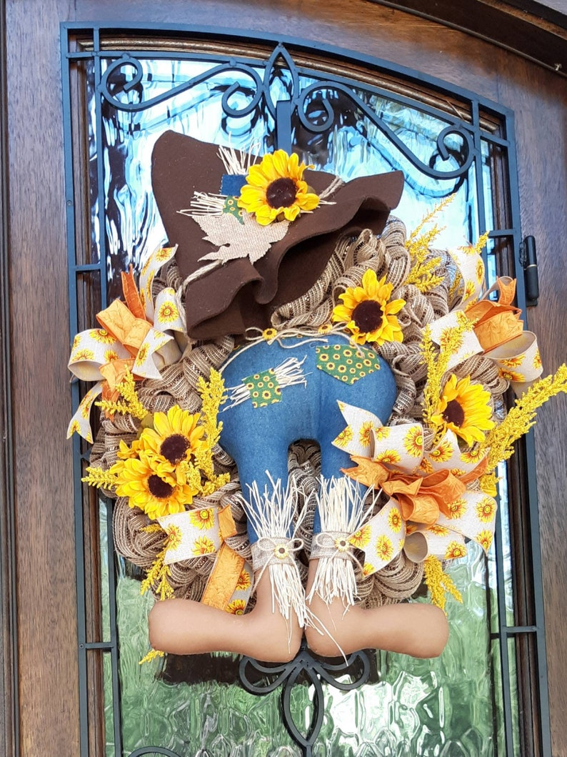 Sunflower Scarecrow Wreath for Thanksgiving Fall and Summer.