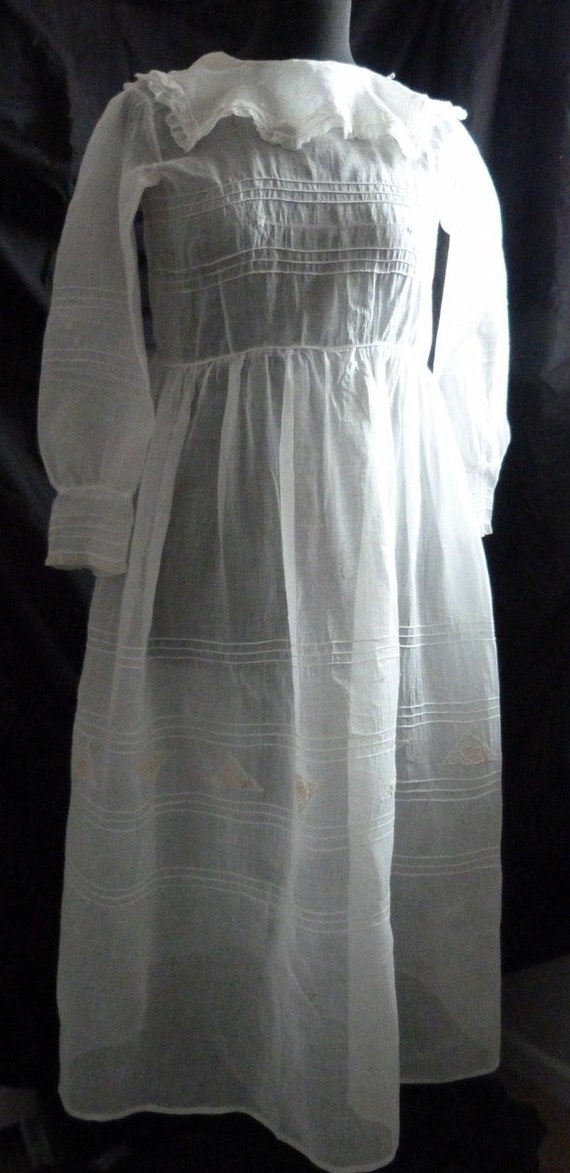 C1800's French Cotton Lawn Occasion Dress, Hand Ma