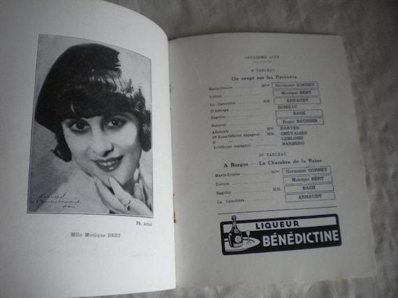 Vintage theatre programme 1920s Les Deux Anes paris cover vladimir Barjansky Art deco