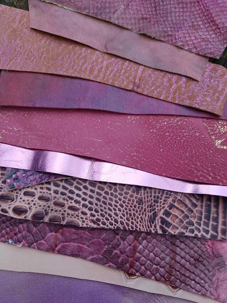 PINK FLAMINGO Leather Scraps,Real Sheep and cow Skin,Leather Fabric for Earrings,Jewelry,crafts,Leather Samples,Swatches,creative pack